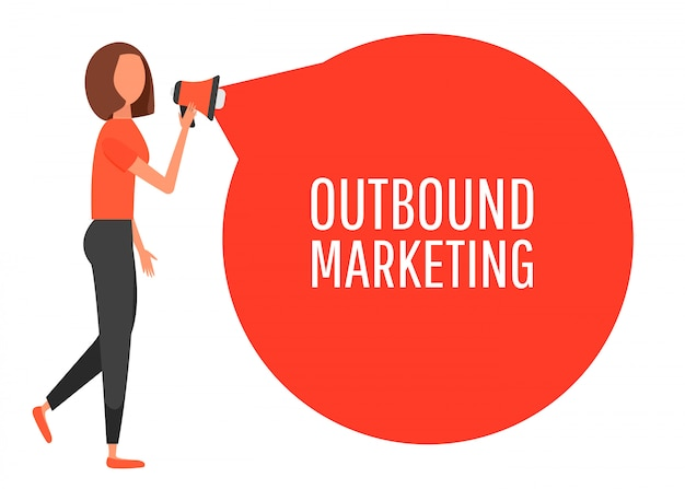 Outbound-marketing. megaphon-label. mädchen, das handschrei hält