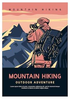 Outdoor-abenteuer der bergwanderung des plakatentwurfs mit wanderndem mann, der foto-weinleseillustration nimmt