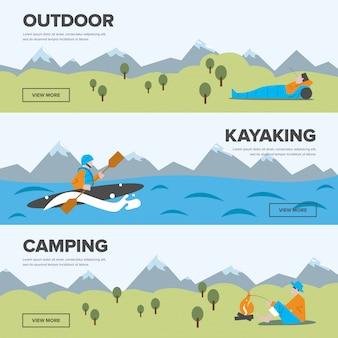 Outdoor-abenteuer, kajakfahren und camping banner sammlung