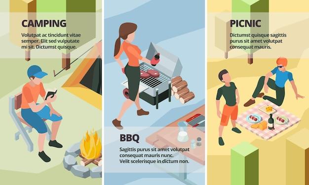 Outdoor-aktivitäten banner-set