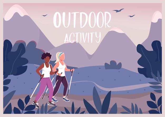 Outdoor-aktivitäten flache vorlage