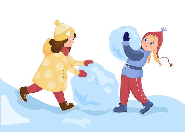 Outdoor-aktivitäten für kinder im winter. mädchen in winterkleidung machen einen schneemann. vektorillustration im cartoon-stil.