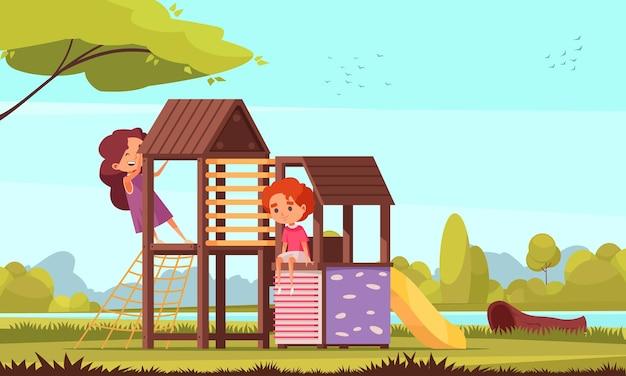 Outdoor-aktivitäten zusammensetzung der parklandschaft mit flussbäumen und figuren von kindern auf kinderspielplatz illustration