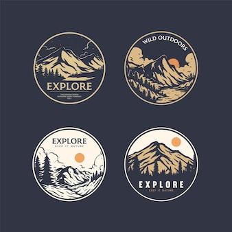 Outdoor-badge-designs mit minimalen farben für waren