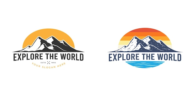 Outdoor-berg erkunden logo-design