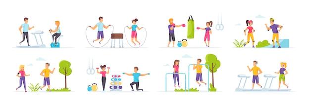 Outdoor-fitness-set mit menschen charaktere in verschiedenen szenen und situationen.