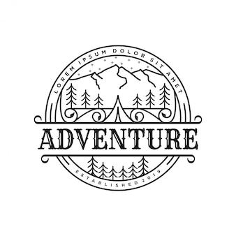 Outdoor-logo im lineart-stil