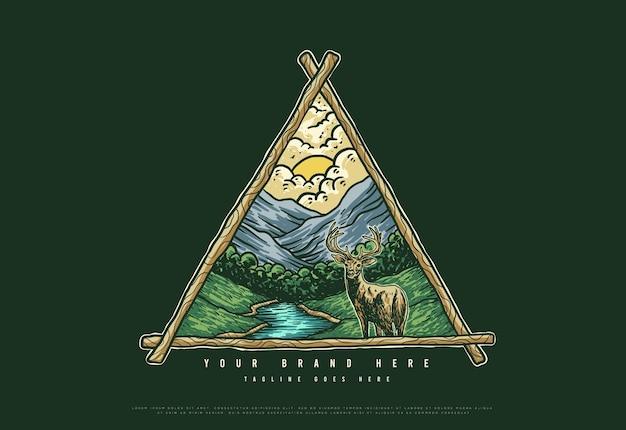 Outdoor-logo natur mit berg und hirsch