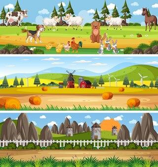 Outdoor-panorama-landschaftsszene mit zeichentrickfigur