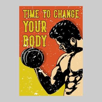 Outdoor poster design zeit, um ihre körper vintage illustration zu ändern