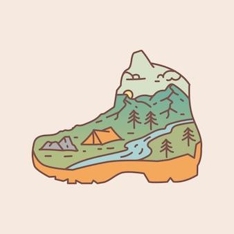 Outdoor-schuhe mit berg- und flussblickillustration