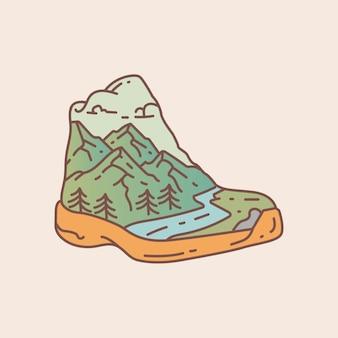 Outdoor-schuhe mit blick auf die berge und den fluss