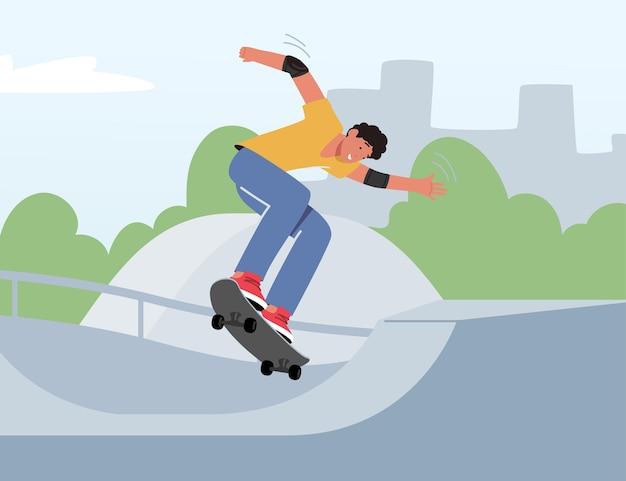 Outdoor-skateboarding-aktivität. junger mann springt auf skateboard training extreme stunts. skateboarder-männlicher charaktersport, junge auf longboard verbringen zeit im stadtpark. cartoon-vektor-illustration
