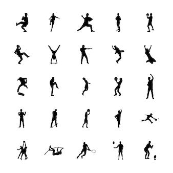 Outdoor-sport silhouetten vektoren pack
