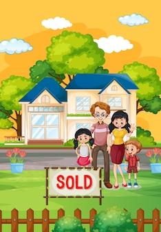 Outdoor-szene mit familie, die vor einem haus zum verkauf steht
