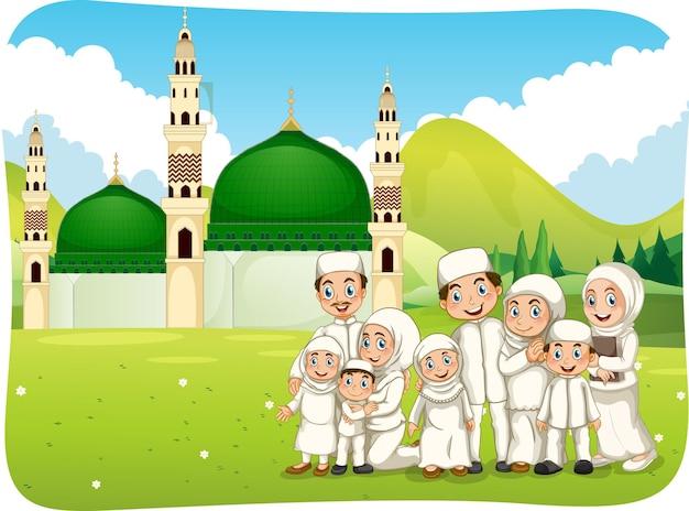Outdoor-szene mit muslimischer familienzeichentrickfigur