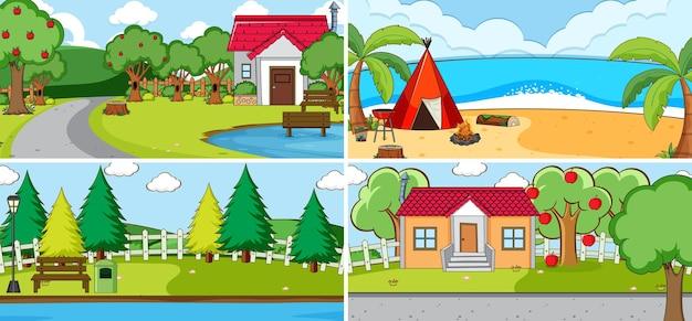 Outdoor-szene mit vielen kindern doodle-cartoon-figur