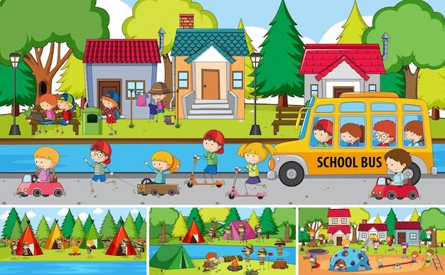 Outdoor-szene mit vielen kindern gekritzel zeichentrickfigur gesetzt