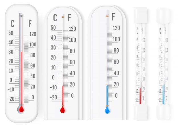Outdoor und indoor fahrenheit und celsius-thermometer