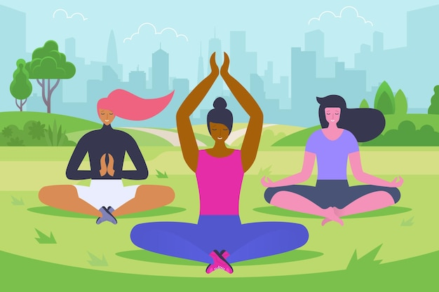 Outdoor-yoga-klasse flache vektor-illustration. junge frauen in sportkleidung-zeichentrickfiguren. mädchen sitzen im lotussitz und meditieren im park. gesunder lebensstil, bewegung an der frischen luft, pilates-training