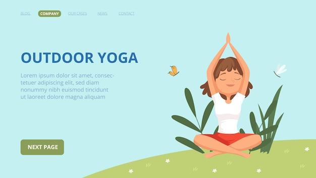 Outdoor yoga landing page. frau, die übungen im park macht.