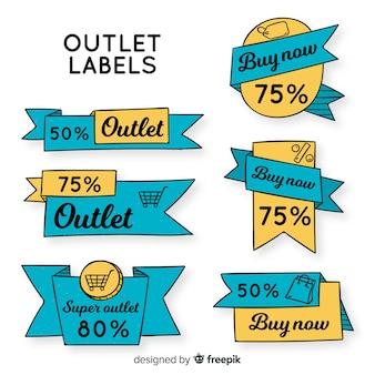 Outlet handgezeichnete Etikettensammlung