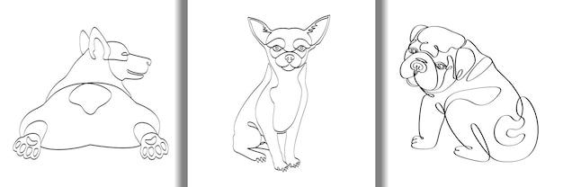 Outline dogs fashion t-shirt handgezeichnete drucke set