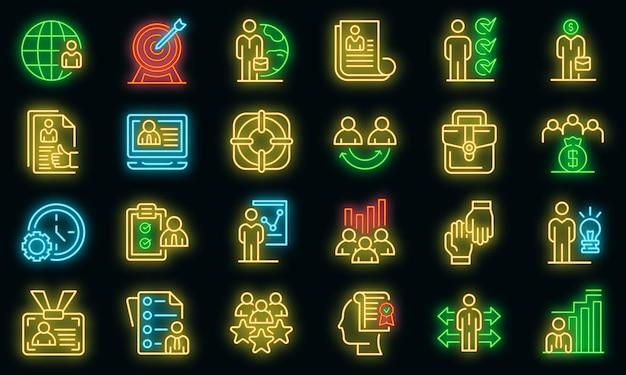 Outsource-symbole festgelegt. umrisse von outsource-vektorsymbolen neonfarbe auf schwarz