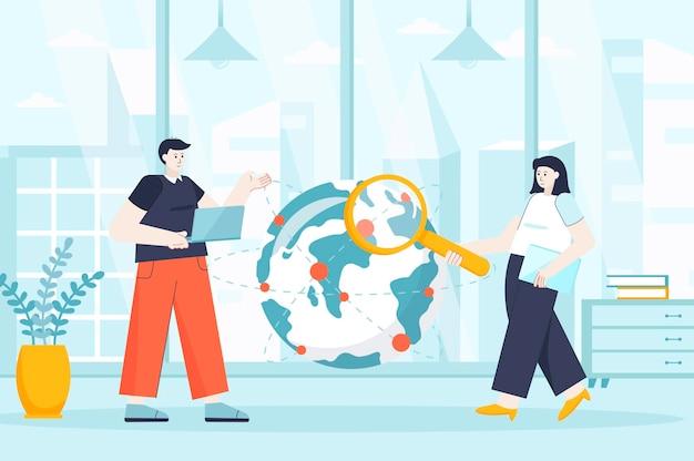 Outsourcing-firmenkonzept in flacher designillustration von personenzeichen für zielseite