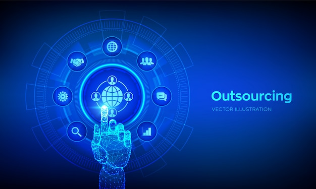 Outsourcing und hr. soziales netzwerk und globales rekrutierungskonzept auf virtuellem bildschirm.
