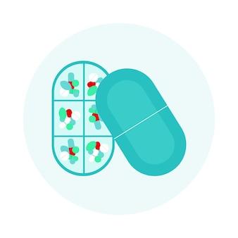 Ovale pillendose.tabletten und kapseln in einem plastikorganisator.medizinische versorgung, wöchentliche und tägliche medikamente.medizinisches konzept, behandlung, schmerzlinderung.flache cartoon-vektorillustration