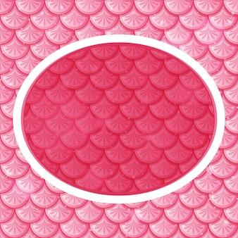 Ovale rahmenschablone auf rosa fischschuppen