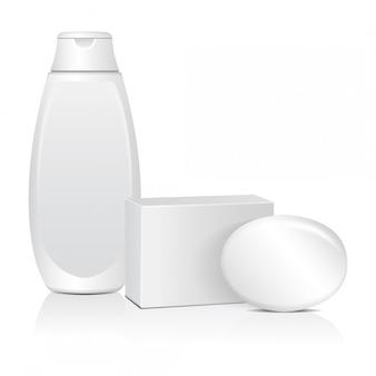 Ovale seife mit weißer box und cosmitic-flasche. realistisches paket