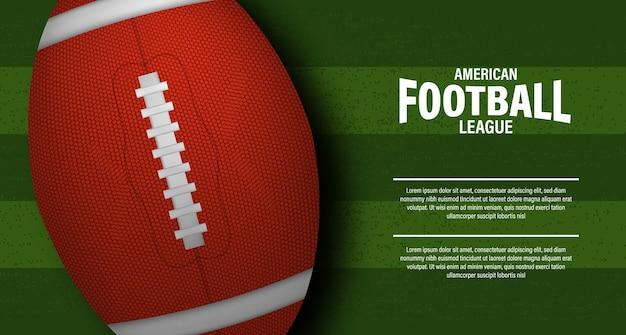 Ovaler 3d-ball rugby oder american football auf der grünen feldstadion-draufsicht für sportturnier-meisterschaftsliga-superschüsselfliegerplakatschablone