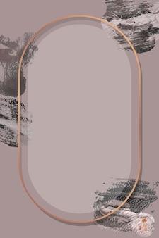 Ovaler bronzerahmen mit strukturiertem pinselhintergrund