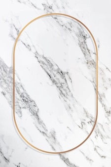 Ovaler goldrahmen auf einem marmorvektor