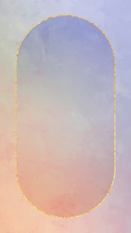 Ovaler goldrahmen auf orange und lila hintergrundvektor
