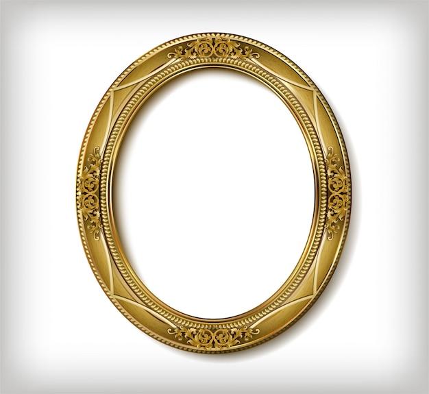 Ovaler holzrahmen des goldfotorahmens mit der ecklinie mit blumen für bild
