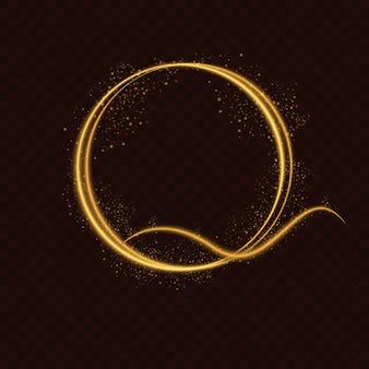 Ovaler platzhalterrahmen mit lichteffekten in gold- und gelbtönen auf dunkelbraunem hintergrund