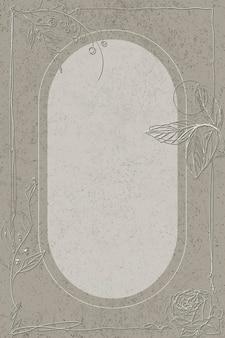 Ovaler rahmen mit blumenmuster in grau