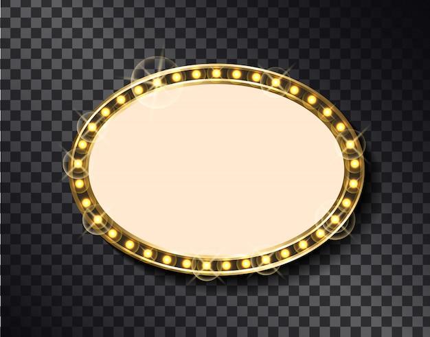 Ovaler rahmen, vintage beleuchtete tafel mit licht