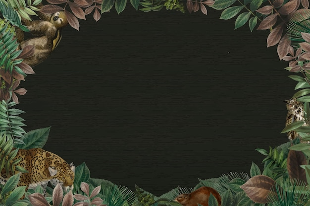 Ovaler rahmenvektor des dschungels mit schwarzem hintergrund des designraums