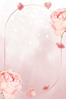 Ovaler rosa rosenrahmen rose