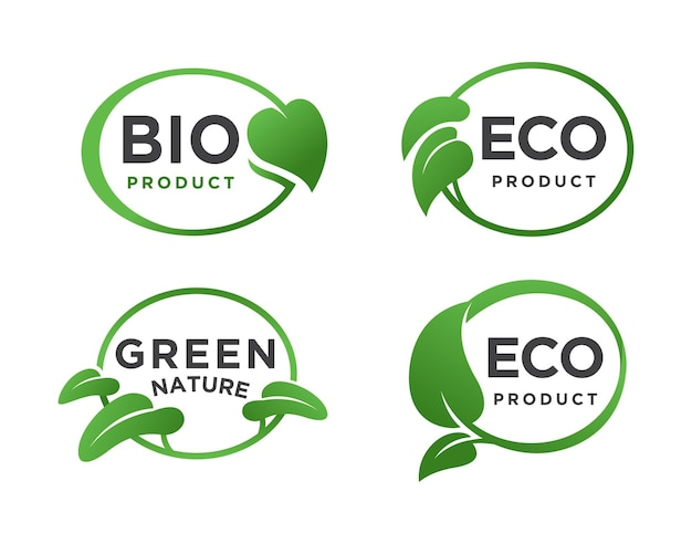 Ovales blattgrünes öko-bio-logo-set