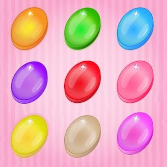 Ovales buntes match-3-spiel der süßigkeit.