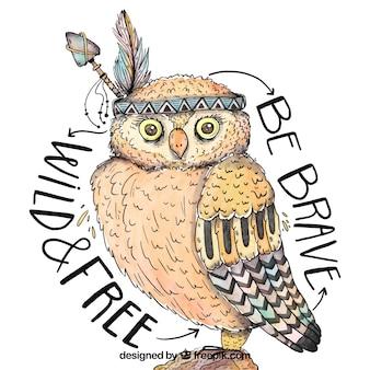 Owl hand in ethnischen stil gezeichnet