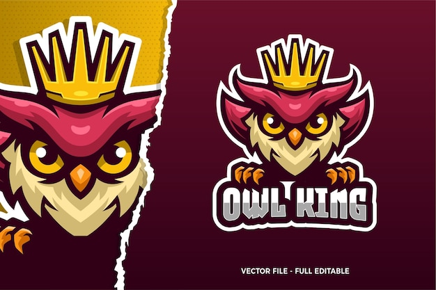 Owl king e-sport spiel logo vorlage Premium Vektoren