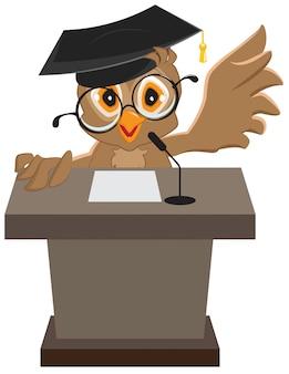 Owl sprecher sagte auf dem podium