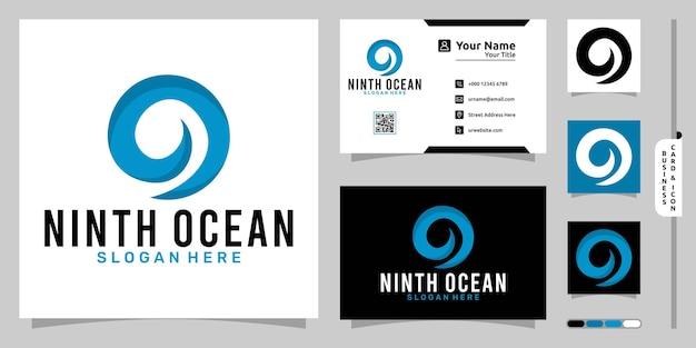Ozean-logo mit nummer neun modernem konzept und visitenkartendesign