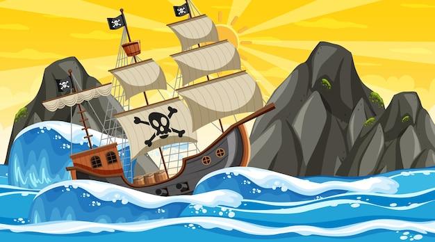 Ozean mit piratenschiff bei sonnenuntergang im cartoon-stil